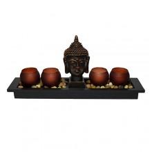 Castiçal zen com vela LED